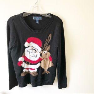 Karen Scott Ugly Christmas Santa Sweater Medium P